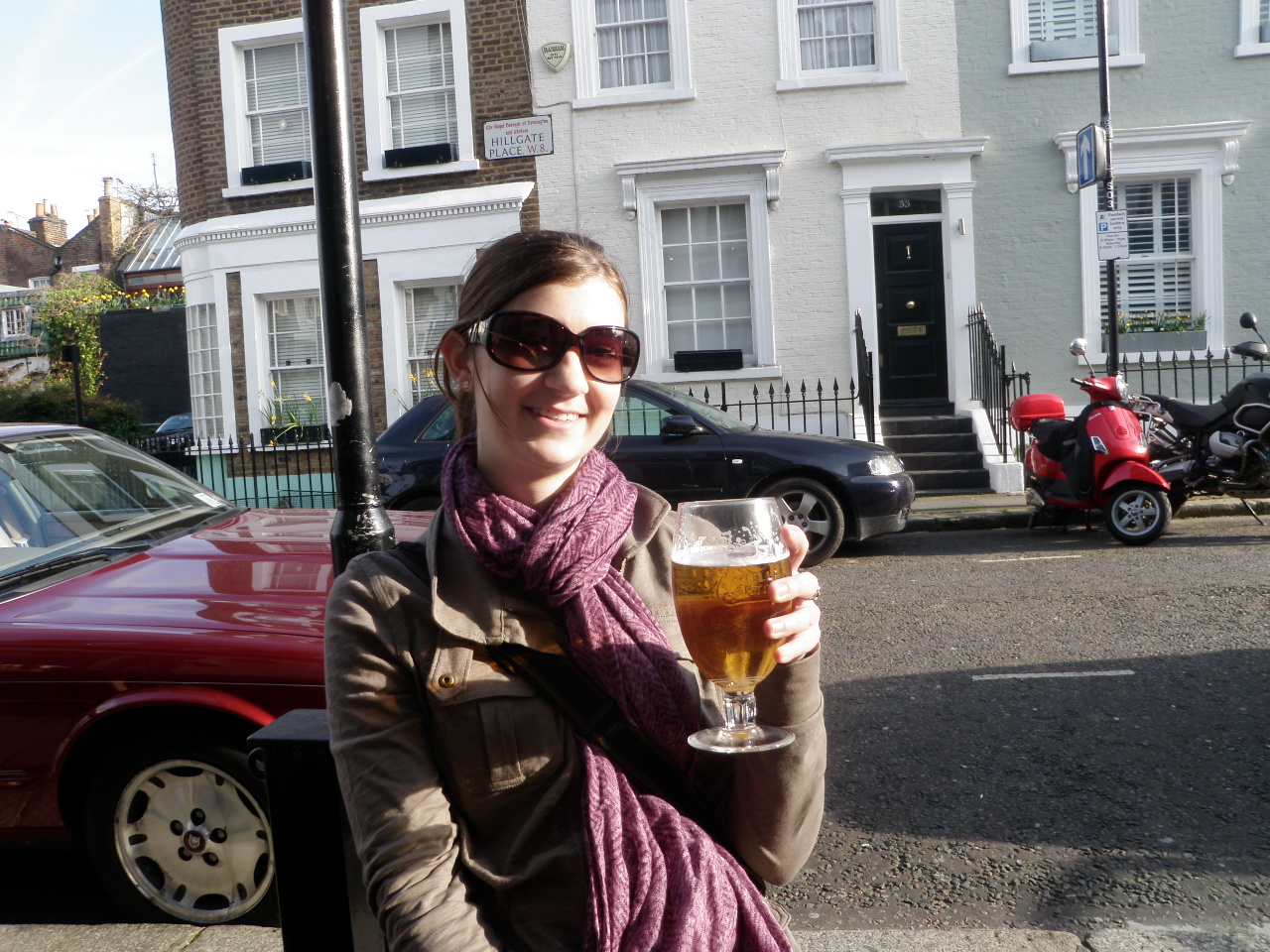 Heather Having a Beer on Notting Hill