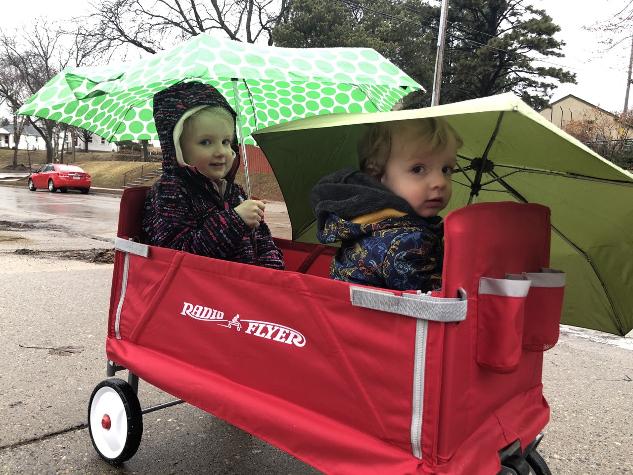 Imogene and Brennan were even good sports with getting outdoors on rainy days.