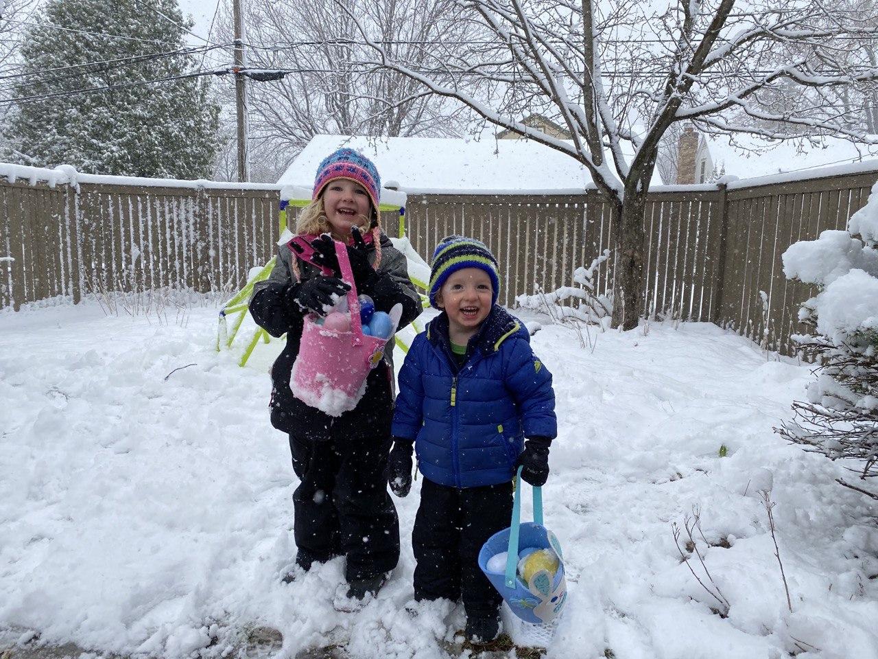 Though we still had a snowy backyard Easter egg hunt. Ha.